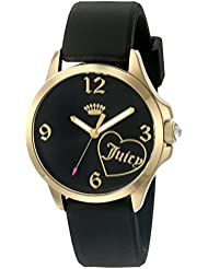 Juicy Couture Womens Jetsetter Quartz Gold-Tone and Silicone Quartz Watch, Color:Black (Model: 1901308)