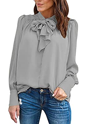 Cyerlia Womens Tie Bow Neck Puffed Long Sleeve Chiffon Shirt Blouse Tops