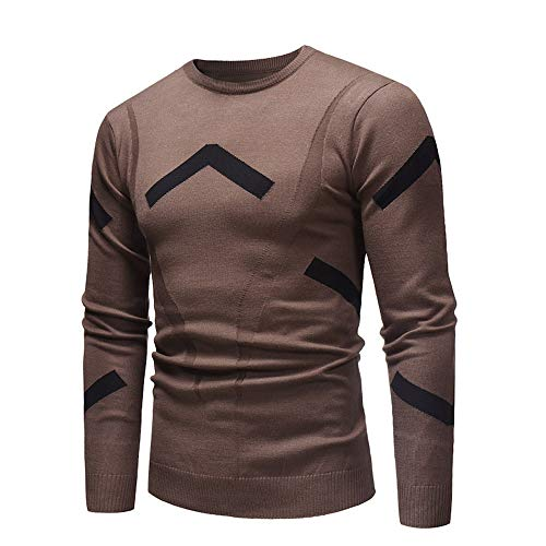 Realdo Mens Autumn Winter Sweater Pullover Slim Jumper Knitwear Outwear Blouse(X-Large,Coffee)