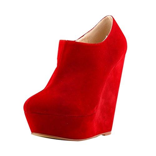 Stivaletti Moda Corti Stivali Moda Boots Alta Rosso WanYang Stivaletti da Scarponcini Low boots Zeppa Adulto Donna Autunno Ragazza Pw6qfR