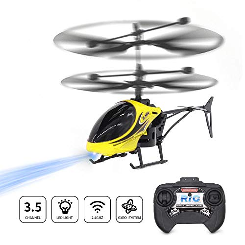 Volwco Mini RC Helicopter, 2.5 Channel Remote Control Helicopter Drone with Gyro Stabilizer, Built-in LED Lighting Flying Toys for Kids Beginner