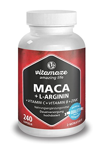 Maca Kapseln hochdosiert 4000 mg + L-Arginin 1800 mg + Vitamine + Zink, 240 Kapseln für 2 Monate, Qualitätsprodukt-Made-in-Germany, jetzt zum Aktionspreis und 30 Tage kostenlose Rücknahme! 1er Pack (1 x 206,4 g)