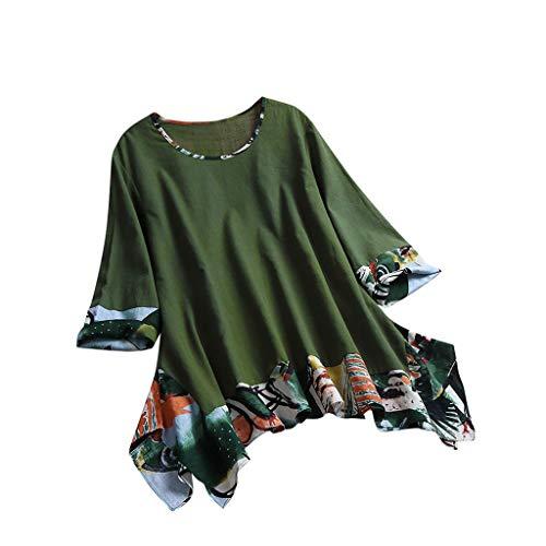 (TIANMI Women Ethnic Print 3/4 Sleeve O Neck Vintage Irregular Top T-Shirt Blouse Green)