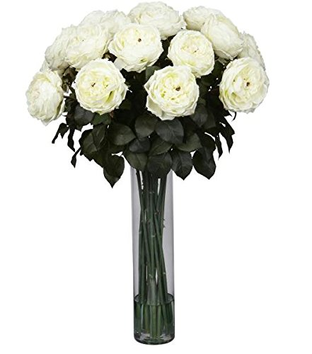 SKB Family Fancy Rose Silk Flower Arrangemen classic vase love romance standing collection