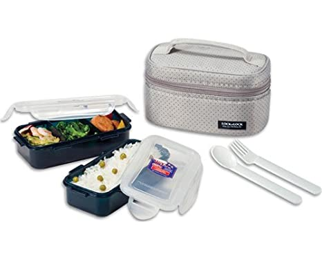 519b762237af Lock & Lock Rectangular Gray Lunch Box Set w/ Leak Proof Food Containers &  Locking Lids - 1.4 Cup