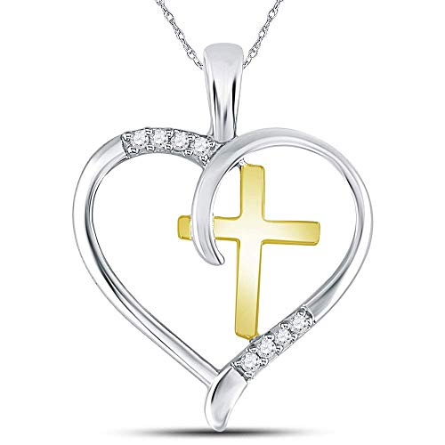 The Diamond Deal Sterling Silver Womens Round Diamond Heart & Cross Two-tone Pendant 1/20 Cttw