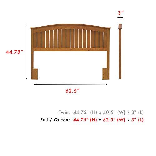 Leggett & Platt Finley Wood Headboard Panel with Curved Top Rail and Slatted Grill Design, Maple Finish, Full / Queen