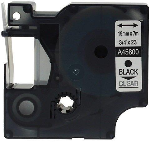 10 Nastri D1 45800 nero su trasparente 19mm x 7m Etichette compatibili per Stampanti DYMO LabelManager LM 100, 110, 120P, 150, 155, 160, 200, 210D, 220P, 260, 260D, 280, 300, 350, 350D, 360D, 400, 420P, 450, 450D, 500TS, PC, PC2, PnP, PnP Wireless, LabelPo