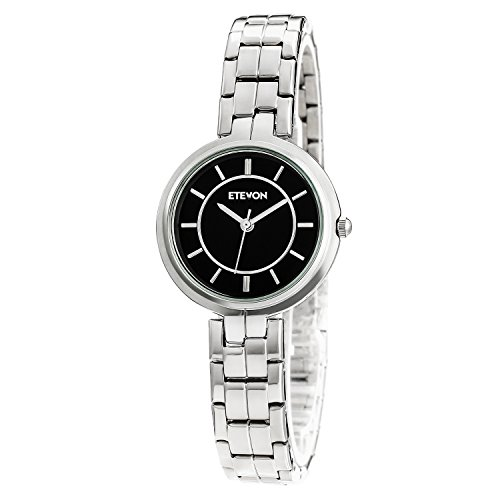 ETEVON Women's Quartz Analog Waterproof Stainless Steel Silver Bracelet Wrist Watch With Black Dial Classic Fashion Gift for Ladies