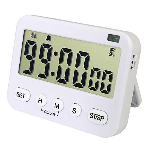 (Digital Kitchen Timer with Magnetic back, Big Digit, Memory Function, Vibration Flashlight Loud Alarm, 24-Hour Clock, Cycle Count down & up Timer for Cooking Baking Teacher Kids -Battery Included )