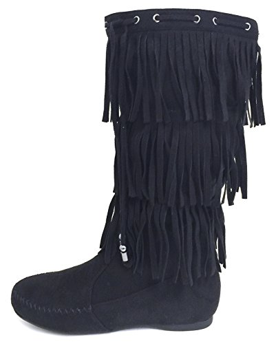 G4U-XS G-XS Womens Fringe Moccasin Boots Suede Flat 3-Layer Zipper Fashion Knee High Mid Calf Shoes, Black, Camel Black