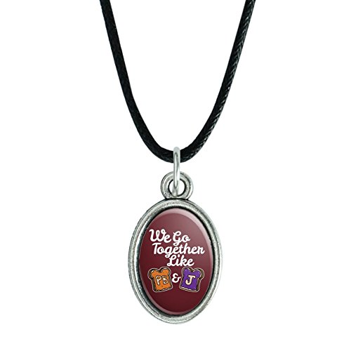 GRAPHICS & MORE Peanut Butter and Jelly Together PB&J Best Friends Antiqued Oval Charm Pendant with Black Satin Cord (Peanut Butter Jelly Necklace Best Friends)