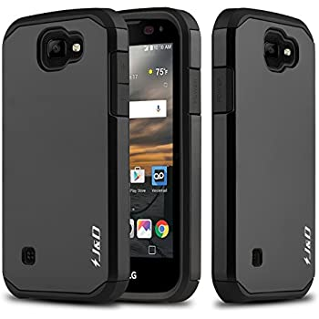 newest 5cf74 a595f J&D Case Compatible for LG K3 Case, Heavy Duty [Dual Layer] Hybrid Shock  Proof Protective Rugged Bumper Case for LG K3 Case - Black