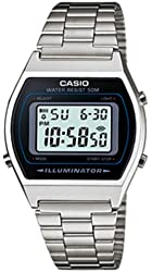Casio B640WD-1A Men's Silver Digital Retro Stainless Steel Watch