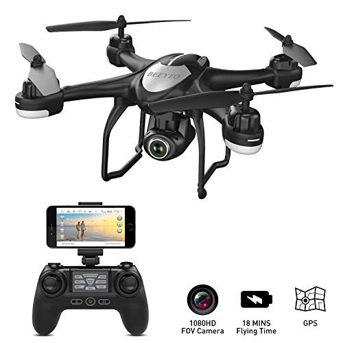 GPS Drone with Camera Live Video 1080P HD FPV RC Quadcopter Drones with Camera Follow Me Mode, Altitude Hold, Long Range Control, GPS Auto Return Home – BEEYEO Black