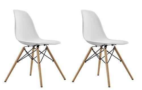 DHP Mid Century Modern Chair with Wood Legs, Set of Two, Lightweight, White by DHP (Image #4)