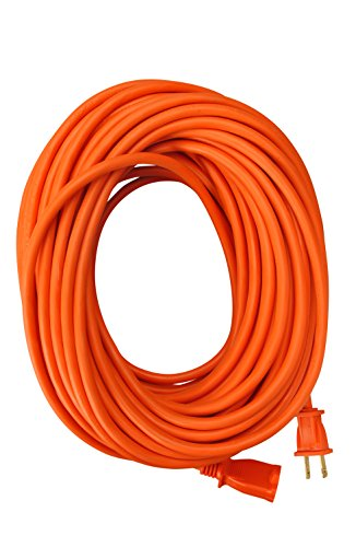 Coleman Cable 02209 16/2 Vinyl Outdoor Extension Cord, Orange, 100-Feet
