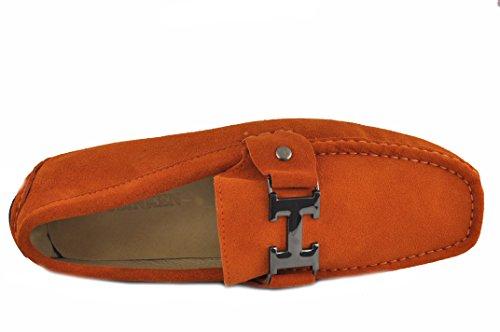 Scarpe Da Uomo In Pelle Slacciata Da Uomo (9.5 D (m) Us, Arancione)