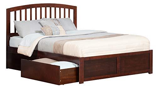 Atlantic Furniture AR8852114 Richmond Platform Flat Panel Foot Board and 2 Urban Bed Drawers, King, Walnut