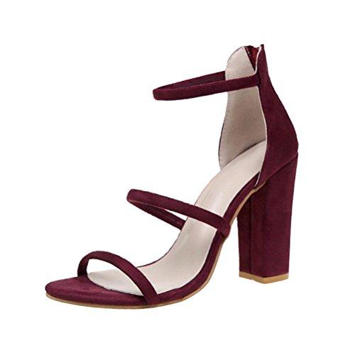 JIANGFU Stöckel Frau mit Einem Fischkopf Mund Schuhe [Sandalen], Mode Frauen Damen Zip Sandalen Ankle High Heels Block Party Offene Spitze Schuhe Rot