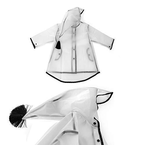 Clear Rain Poncho Wrinkle Free Hooded Rainwear for Boys Girls Age 3-12 VCOSTORE Kids Rain Coat