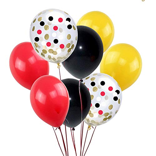 Black Red Yellow Latex Balloons and Confetti Balloons 50 Count,for Mickey Mouse Children Birthday Party Baby Boy Shower for $<!--$12.95-->