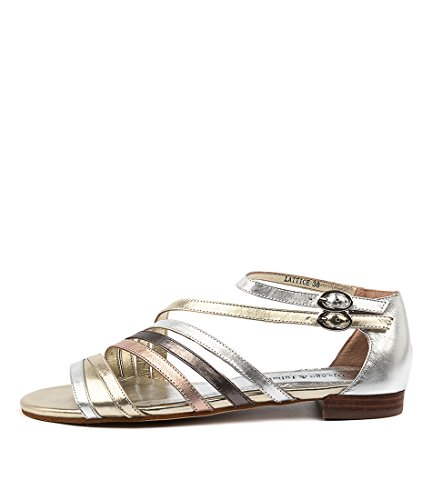 DJANGO & JULIETTE Lattice Womens Flat Sandals Summer Sandals Metallic Multi Leather
