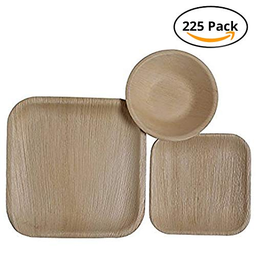 CaterEco Square Palm Leaf Plates Set (225 Pack) | (75) Dinner Plates, (75) Salad Plates and (75) Bowls | Ecofriendly Disposable Dinnerware | Heavy Duty Biodegradable Party Utensils