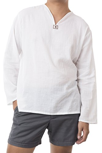 Men Renaissance Medieval White linen T Shirt V Neck Hippie Pirate Beach Kurta Yoga (x-Large)