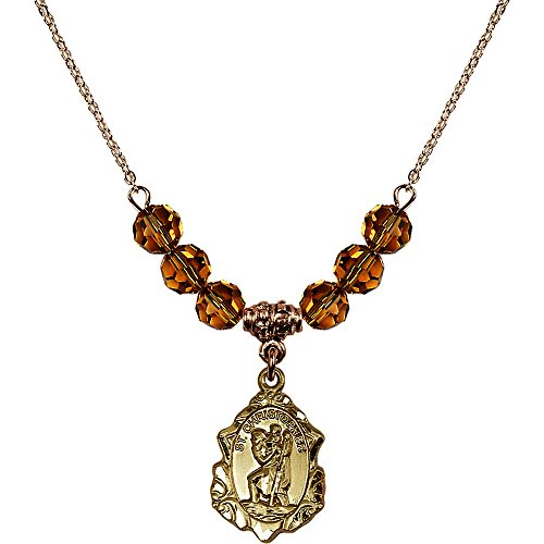 18-Inch Hamilton Gold Plated Necklace with 6mm Yellow November Birth Month Stone Beads and Saint Christopher ()