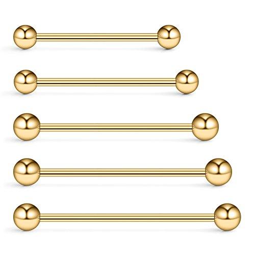 Ruifan 5PCS 14 Gauge Mix Sizes Industrial Barbell Cartilage Earring Body Piercing Jewelry 28mm 32mm 35mm 38mm 40mm - -
