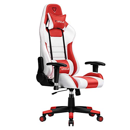 Furgle Gaming Chair Racing Style High-Back Office Chair w/3D Adjustable Armrests PU Leather Executive Ergonomic Swivel Video Game Chairs with Headrest and Lumbar Support (White & Red)