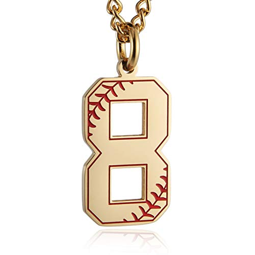 HZMAN Baseball Initial Pendant Necklace Inspiration Baseball Jersey Number 0-9 Charms Stainless Steel Necklace (8 - Gold) ()