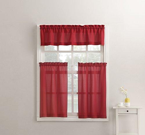 "No. 918 Martine Microfiber 3pc Kitchen Curtain Set, 54"" x 36"", Red"