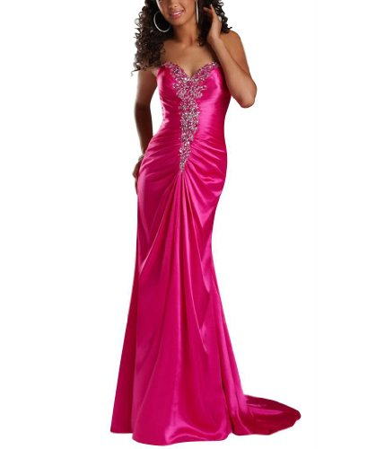 Herz lange GEORGE Ausschnitt Ballkleid Rosa schlanke Perlstickerei Abendkleid BRIDE xPPEzv