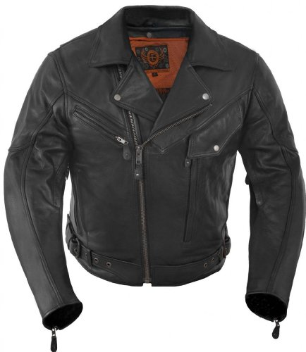 True Element Mens Premium Motorcycle Leather Jacket with Armor Insert Pockets (Black, Size XL)