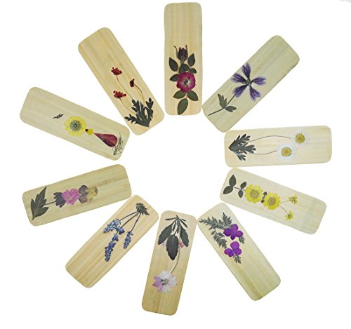 (10 Pcs Handmade Bamboo Dried Flowers Chinese Style Bookmarks For Kids School Study Decoration Souvenirs Business Christmas Birthday Gift )