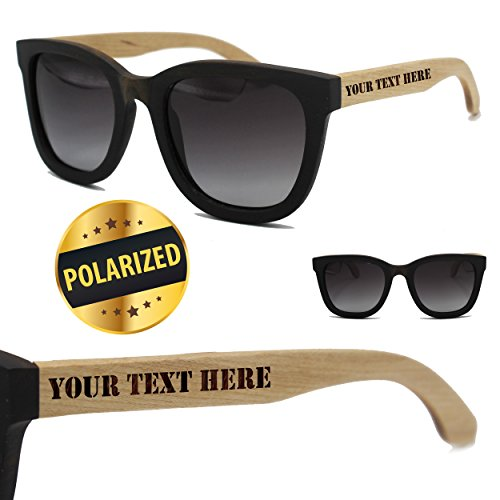 Custom Engraved Wood Polarized Sunglasses - Premium Personalized Wooden Sun Glasses Gifts for Wedding Party, Groomsmen, Bridesmaid, Men, Women (Two Toned - 2 arms ()
