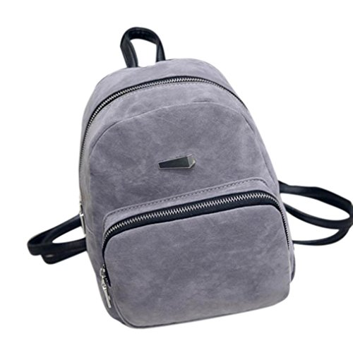 Simple Soft Leather Backpack, Paymenow Women Fashion Rucksack Girls School Book Shoulder Bag (Gray)