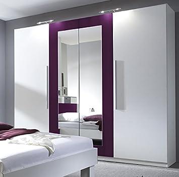 Kleiderschrank weiß schwarz mit spiegel  Kleiderschrank Schrank 54020 4-türig mit Spiegel weiß / lila ...