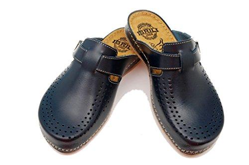 Donna Y77 Scarpe Dr Bril Sabot Pelle Zoccoli Pantofole Blu Rosso Punto qzFOU7