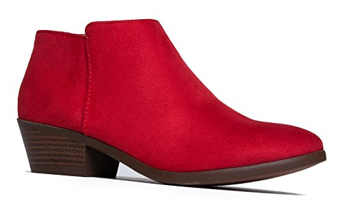 Western Ankle Boot - Cowgirl Low Heel Closed Toe Casual Bootie - Comfortable Walking Slip On, Red, 9]()