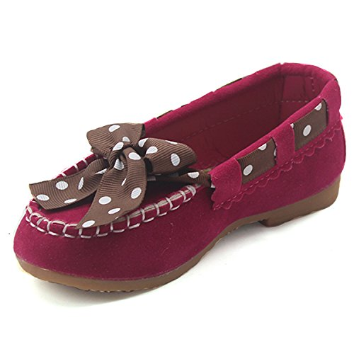 Msmushroom Faux Leather Girl's Bowknot Moccasin Burgundy,6M
