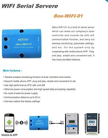 eBox-wifi-01 WiFi Box for Epever Tracer A//BN Series MPPT,LS-B,VS-A,VS-BN Seires Solar Charge Controller,SHI,STI Series Inverters