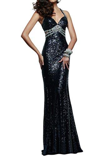 ivyd ressing Mujer sexuell V de pico Funda de línea lentejuelas vestido de fiesta Prom vestido para vestido de noche negro