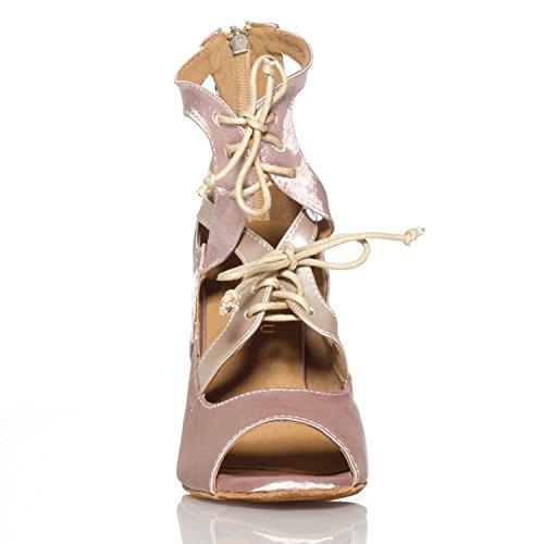 Minitoo LACE-up de fiesta traje de neopreno para mujer de satén y pedrería para mujer zapatos de danza de Salsa Latin tacón Beige - beige