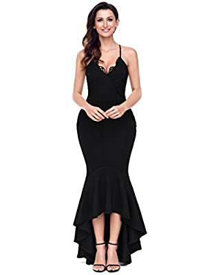 Lalagen Women's Lace Long Mermaid Evening Dress Straps Wedding Party Dresses