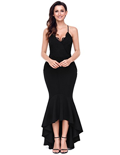 Lalagen Women's Lace Long Mermaid Evening Dress Straps Wedding Party Dresses Black S (Floral Spaghetti Strap Evening Gown)