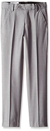 Isaac Mizrahi Big Boys' Slim Wool Blend Slim Pant, Light Grey, (Grey Wool Dress Pant)