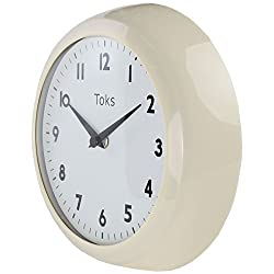 Lily's Home Retro Kitchen Wall Clock, Large Dial Quartz Timepiece, Ivory, 9 1/4 inch